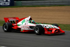 Lebanese a1 gp race car. On track, 5 May 2008 at Brands Hatch, UK royalty free stock photo