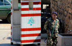 Lebanese Army post in Beirut Royalty Free Stock Photo
