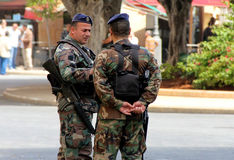 Lebanese Army Security Control Stock Images