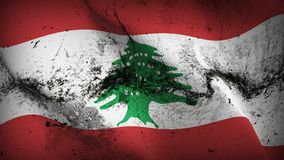 Lebanon grunge dirty flag waving on wind. Lebanese background fullscreen grease flag blowing on wind. Realistic filth fabric texture on windy day Royalty Free Stock Image