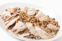 Lebanese chicken spiced rice angled Stock Images