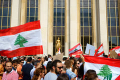 Lebanese demonstrating in Paris Royalty Free Stock Images