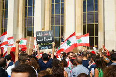 Lebanese demonstrating in Paris Stock Photo