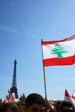 Lebanese manifestating in Paris Stock Photo
