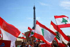Lebanese demonstrating in Paris Royalty Free Stock Image