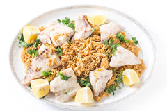 Lebanese fish rice and nuts from above Stock Photo