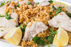 Lebanese fish rice and nuts Stock Photos