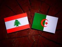 Lebanese flag with Algerian flag on a tree stump isolated royalty free illustration