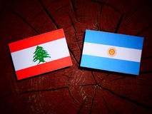 Lebanese flag with Argentinian flag on a tree stump  Royalty Free Stock Images