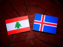 Lebanese flag with Icelandic flag on a tree stump isolated Royalty Free Stock Photography