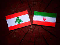 Lebanese flag with Iranian flag on a tree stump isolated Royalty Free Stock Photography