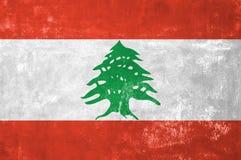 Lebanese Flag. Lebanon - Lebanese Flag on Old Grunge Texture Background Royalty Free Stock Photography