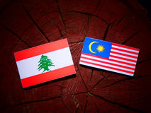 Lebanese flag with Malaysian flag on a tree stump isolated royalty free illustration