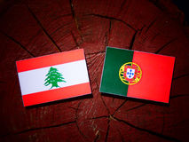 Lebanese flag with Portuguese flag on a tree stump isolated stock photo