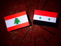 Lebanese flag with Syrian flag on a tree stump isolated vector illustration