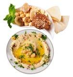 Lebanese food. Hummus and falafel against white background Stock Photo