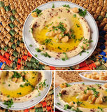 Lebanese food. Hummus and falafel against white background Stock Photography