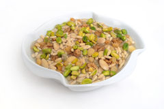 Lebanese food of baked rice with nuts and pine stock photo