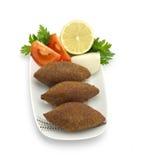 Lebanese Food of fried Kibe. On White Background Royalty Free Stock Photos