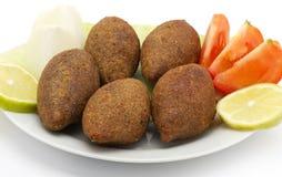 Lebanese Food of fried Kibe. On White Background Stock Photography