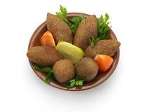 Lebanese Food of fried Kibe. On White Background Stock Images