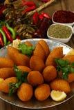 Lebanese Food of fried Kibe Stock Photos