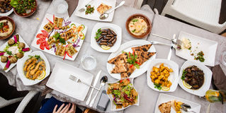 Lebanese food at the restaurant stock photo