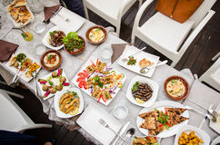 Lebanese food at the restaurant Royalty Free Stock Image