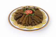 Lebanese food of stuffed grape and rice decorated Stock Photos