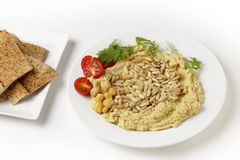 Lebanese hummus and pine nuts Royalty Free Stock Photo