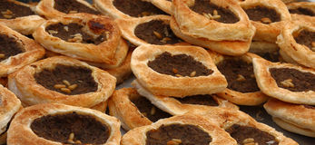 Lebanese Meat Pies. Traditional open faced lebanese meat pies (Sfeeha Royalty Free Stock Photos