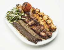 Lebanese Mixed Grill plate isolated on white Stock Images
