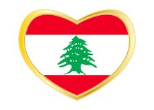 Flag of Lebanon in heart shape, golden frame Royalty Free Stock Image