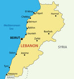 Lebanese Republic - Lebanon - map - vector Royalty Free Stock Photo