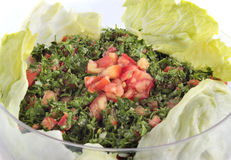 Lebanese salad - tabouleh (isolated). Traditional lebanese/turkish food Stock Photos