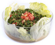 Lebanese salad - tabouleh (isolated). Traditional lebanese/turkish food Royalty Free Stock Image