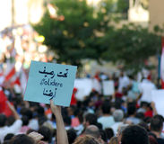 Lebanese street protests in Beirut, Lebanon protesting Solidere. Royalty Free Stock Photo