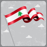 Lebanese wavy flag. Vector illustration. Stock Image