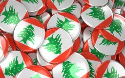Lebanon Badges Background - Pile of Lebanese Flag Buttons. Royalty Free Stock Photography