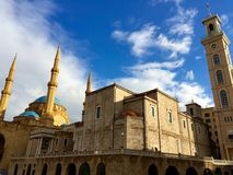 Lebanon, Beirut, The Mohammad Al-Amin Mosque and church Stock Photography