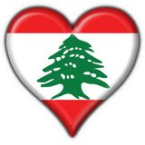 Lebanon button flag heart shape Stock Photo