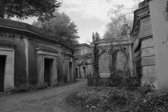 Lebanon Circle West Highgate Cemetery. Black and white photo of the Lebanon Circle in the West side of Highgate Cemetery. The west side was the first part of the Stock Photos