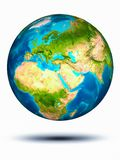 Lebanon on Earth with white background. Lebanon in red on model of planet Earth hovering in space. 3D illustration isolated on white background. Elements of this royalty free stock image