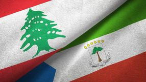 Lebanon and Equatorial Guinea two flags textile cloth, fabric texture. Lebanon and Equatorial Guinea two folded flags together royalty free illustration