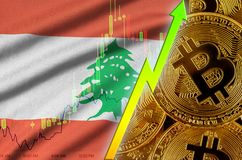 Lebanon flag and cryptocurrency growing trend with many golden bitcoins. Lebanon flag  and cryptocurrency growing trend with many golden bitcoins. Concept of stock illustration