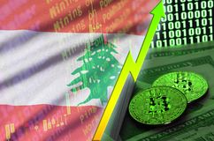 Lebanon flag and cryptocurrency growing trend with two bitcoins on dollar bills and binary code display. Concept of raising Bitcoin in price and high vector illustration