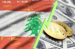 Lebanon flag and cryptocurrency growing trend with two bitcoins on dollar bills. Concept of raising Bitcoin in price against the dollar stock illustration