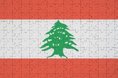 Lebanon flag is depicted on a folded puzzle vector illustration