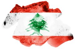 Lebanon flag is depicted in liquid watercolor style isolated on white background. Careless paint shading with image of national flag. Independence Day banner stock illustration
