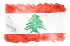 Lebanon flag is depicted in liquid watercolor style isolated on white background. Careless paint shading with image of national flag. Independence Day banner vector illustration
